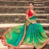 Green Satin Georgette Wedding Saree