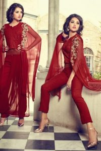 Red Fusion Style Georgette Drape Suit