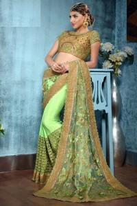 Heavy Light Green Net Saree