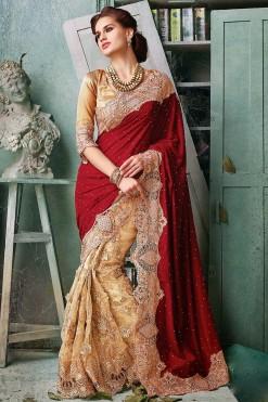 Heavy Bridal Maroon And Peach Net On Velvet Saree With Gota Blouse