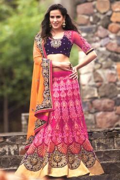 Designer Orange And Pink Lehenga Choli Saree