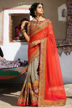 Traditional Orange And Beige Net Saree