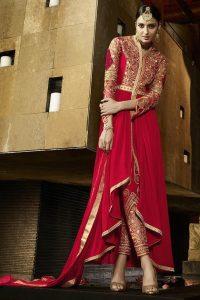 Red Royal Georgette Anarkali Suit