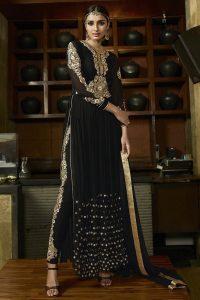 Black Royal Georgette Anarkali Suit