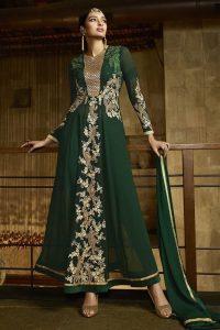Green Royal Georgette Anarkali Suit