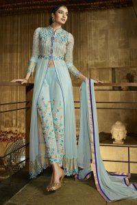 Sky Blue Royal Georgette Anarkali Suit
