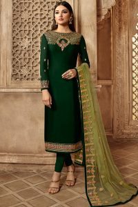 Green Georgette Embroidered Churidar Suit
