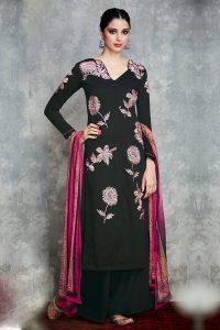 Black Pure Cotton Satin Suit