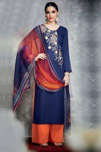 Blue Pure Cotton Satin Suit