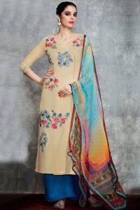 Beige Pure Cotton Satin Suit