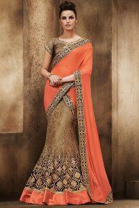 Orange And Gold Beige Net Lehenga Saree