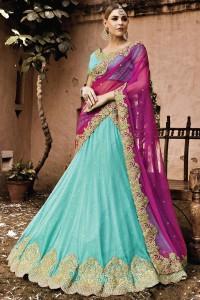 Designer Turquoise Faux Georgette/Net Lehenga Choli