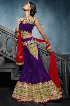 Designer Bridal Seasons Purple Velvet Lehenga Choli