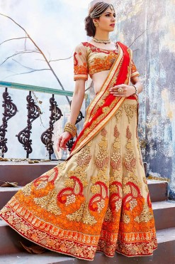 Bridal Orange And Beige Net Lehenga Saree