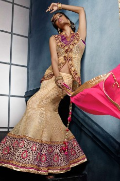 Designer Bridal Seasons Beige Net And Jacquard Lehenga Choli