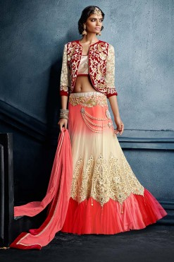 Designer Bridal Seasons Coral Net Lehenga Choli