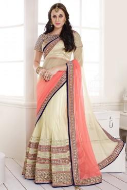 Off White And Peach Net And Satin Lehenga Style Saree